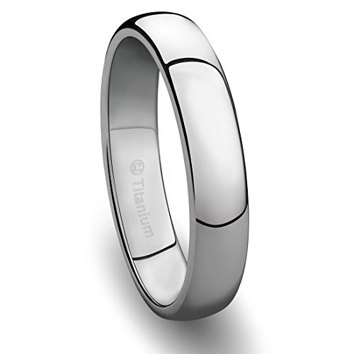 Titanium Polished Finish - 4MM Mens Titanium Ring Classic Wedding Band with Polished Finish [Size 9]
