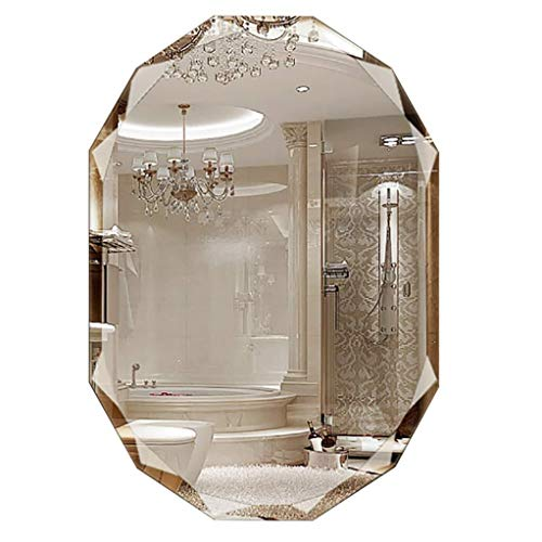 Bathroom Mirrors Oval Wall-Mounted Vanity Mirror Frameless Diamond Bevel Makeup Mirror for -