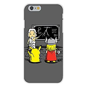 Apple iPhone 6 Custom Case White Plastic Snap On - Funny Humor Pocket Monster & Norse God Superhero Parody Electric Lightning Bolt Classroom