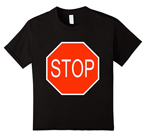 Twin Halloween Costume Ideas For Girls (Kids Stop Sign Simple Easy Halloween Costume T-Shirt 4 Black)