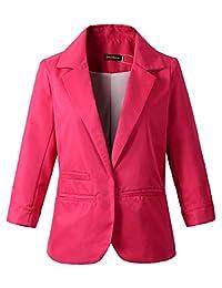 Beninos 3/4 Sleeve Women's Boyfriend Blazer Tailored Suit Jacket Sport Coat