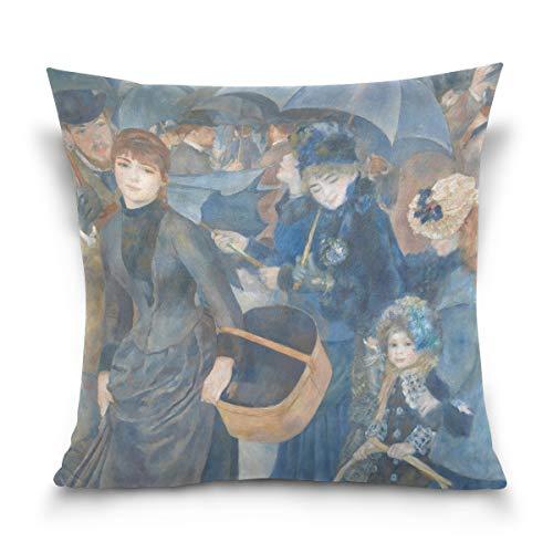 SUABO The Umbrellas by Pierre-Auguste Renoir Cotton Velvet Decorative Throw Pillow Case Cushion Cover 20 X 20 inch
