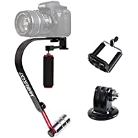 Sevenoak SK-W02 Handheld Grip Video Steadycam Stabilizer Support up to 2.2 lbs for DSLR Camera Canon EOS T6 Sony DV Nikon D3300 D3400 Camcorders (Black & Red)