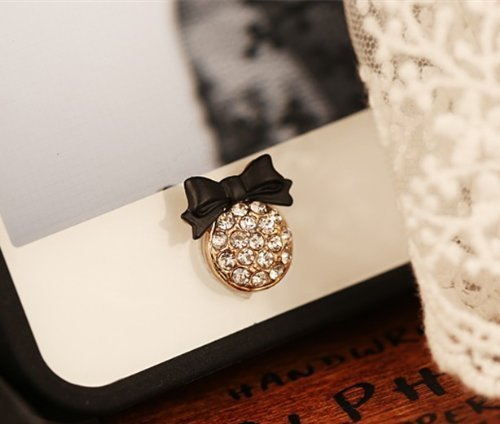 Big Mango Cute Black Bow Round Iphone Home Return Key Button Sticker / Cell Phone Charms for Apple Iphone 5 5s 5c Iphone 4 4s Ipod Touch Ipad 2 iPad 3 iPad 4 iPad Air Tablet Replace Replacement (Ipod 5c Cases For Protective)