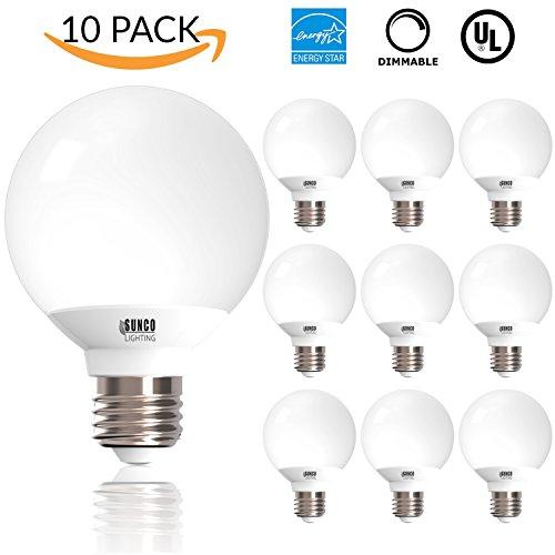 10 PACK - UL & ENERGY STAR LISTED - 6W Dimmable G25 LED Bulb, 40W Equivalent Vanity Light Bulb, Daylight 5000K, Medium E26 Screw Base Omnidirectional Globe Bulb - E26 Screw Base