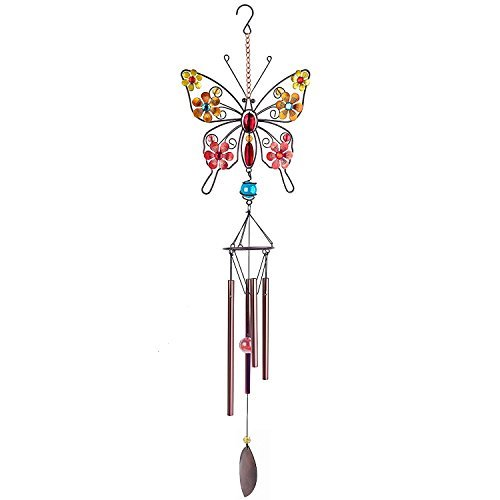 CREATIVE DESIGN Wind Chimes, 32''H Butterfly Garden Chimes, Portable Metal Wind Chimes for Home Garden Decoration