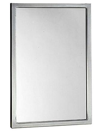 Bobrick 290 Series 304 Stainless Steel Welded Frame Glass Mirror, Satin Finish, 18 Width x 30 Height