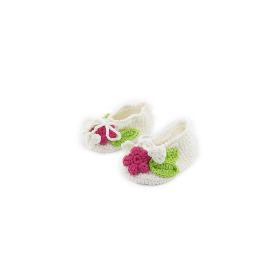 BONAMART ® Fashion Vintage Handmade Toddler Infant Baby Girl Boy Flower Sock Crochet Solf Knit Shoes White Size S