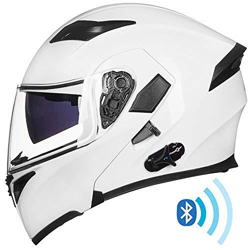 ILM Bluetooth Motorcycle Helmet Modular Flip up Full Face Dual Visor Mp3 Intercom FM Radio DOT Approved (White, XL) reviews
