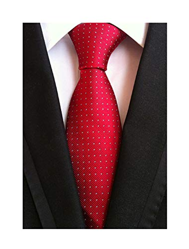 Dot Long Tie - Mens Big Boy Solid Cherry Red Tie with White Pin Dot Summer Woven Formal Necktie