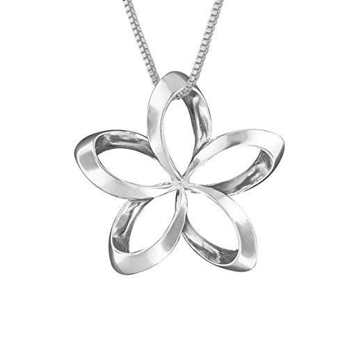 (Sterling Silver 19mm Open Plumeria Pendant Necklace, 16+2