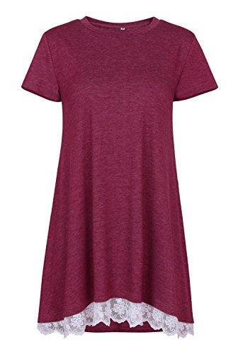 c0949e1dd99 BELAMOR Short Sleeve Plus Size Tunic Tops For Women Wine Red