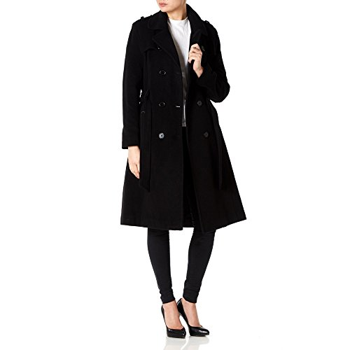 Noir Womens Wool amp; Coat Belted Cashmere Trench De Long La Military Crème fPw1qxEnBZ