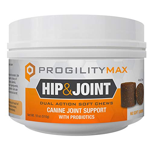 Nootie Progility Max Hip & Joint with Probiotics for Dogs - 60 Cold Pressed Soft Chews - Maximum Strength Advanced Joint Support, Chewable Glucosamine for Dogs with Chondroitin, MSM & Turmeric