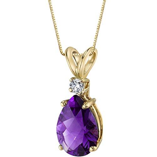 - 14 Karat Yellow Gold Pear Shape 1.50 Carats Amethyst Diamond Pendant