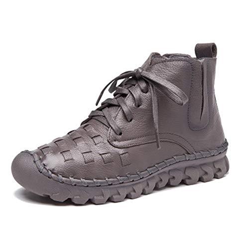 Zapatos Para Botas Cortos Con Pingxiannv Cálidos Cuero Mujer Invierno Y Cordones De Botines pBftqgqx