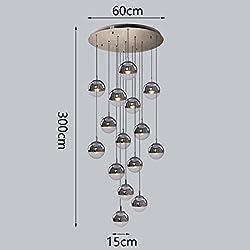NYDZ LED Glass Chandelier,15 Balls 0.6m Diameter 3m Height Unsystematic Arrange Bubbles