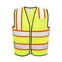 Neiko 3 Pocket Safety Vest, Neon Yellow with Orange Trim