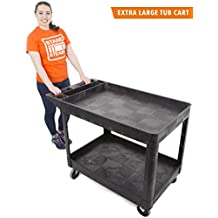 Original Tubster Extra Large - Shelf Utility Cart- Heavy Duty & Huge! - Supports up to 500 lbs! - Tub Carts w/Deep Shelves - Great for Warehouse, Garage, Cleaning, More! (2 Shelf XL- Black 45x25)