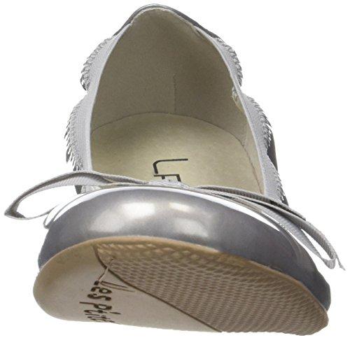 P'tites Ella Bombes Ballet V Silver Toe Flats Argent WoMen Les Closed 6dqa76H
