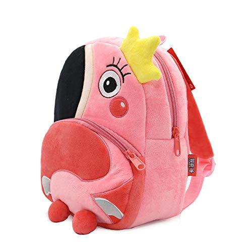 ... School Backpack - Cartoon Pink Flamingo School Backpacks Soft Plush Pouch For Toddler Baby Girls Boy Kindergarten Kids School Bags Mochila Escolar - by ...