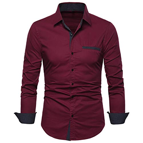VANCOOG Men's Long Sleeve Prom Shirts-Regular Fit Casual Button Down Shirts-Wine Red-L (Stylish Button Down Red Shirt)