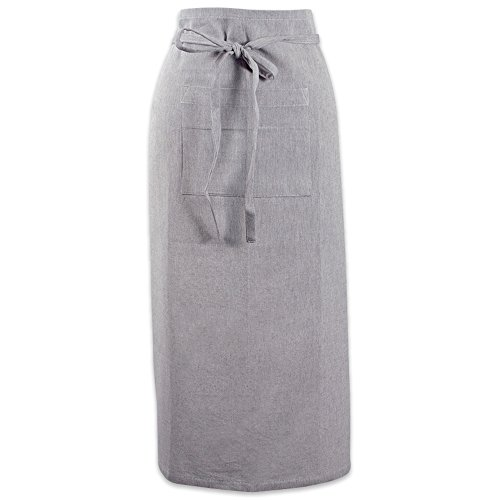 DII Cotton Chambray Bistro Half Waist Apron with Pockets and Extra Long Ties, 30 x 28, Cooking, Baking Apron, Uniform for Bartender, Waiter, Waitress, Coffee shop, Restaurant-Gray Kitchen Collection Apron