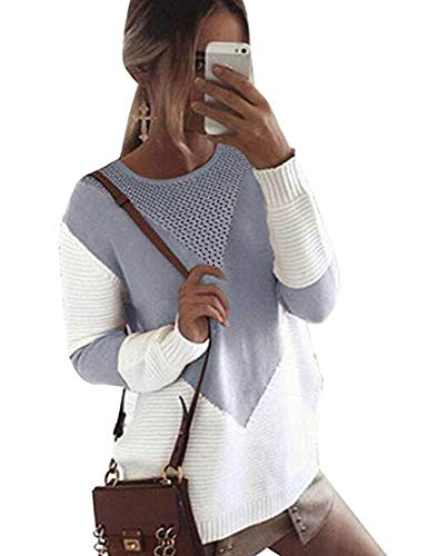 Sweater Crewneck Rose - Free Rose Women Color Block Sweaters Long Sleeve Crew Neck Knit Pullovers (XL(Bust Size 44.88