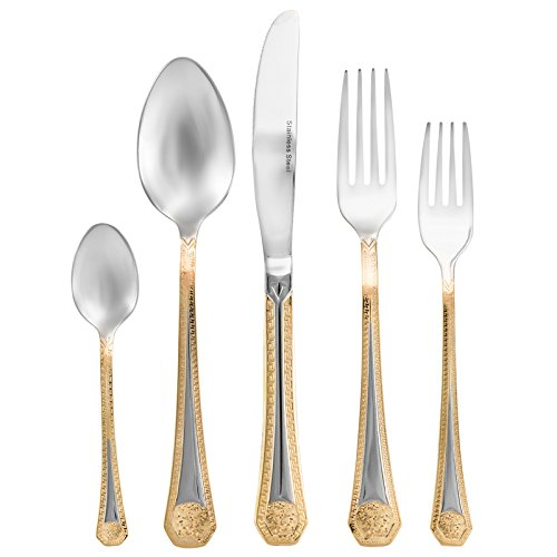 Collection 20 Piece Flatware Set - Italian Collection 20-Piece Premium Surgical Stainless Steel Silverware Flatware Set 18/10, Service for 4, 24K Gold-Plated Hostess Serving Set