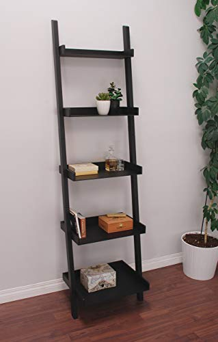 Kiera Grace Hadfield 5-Tier Leaning Wall Shelf - 18 by 67-Inch, Black ()