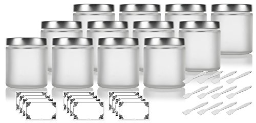 Frosted Clear Glass Straight Sided Jar with Silver Metal Airtight Lid - 4 oz / 120 ml (12 pack) + Spatulas and Labels