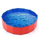 Mcgrady1xm Foldable Pet Dog Bath Pool, Kiddie Pool Hard Plastic Collapsible Dog Pet Pool Bathing Tub PVC Outdoor Pools for Dogs Cat Kid
