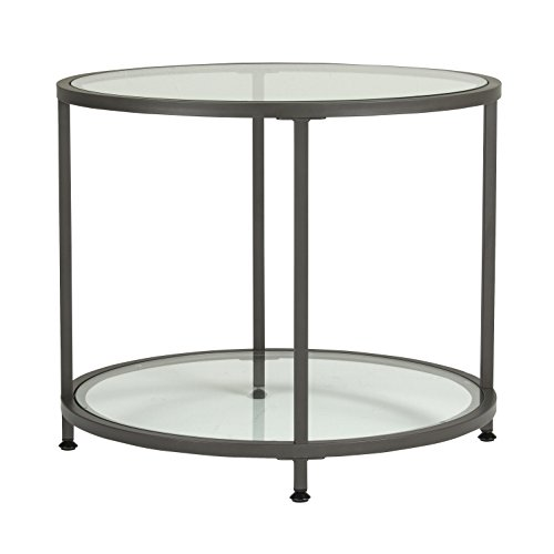 Glass Wide End Table - Studio Designs Home 71004.0 Camber Round Side Table In Pewter With Clear Glass