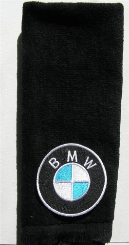 BMW vintage type hand golf towel applique bavarian motor works