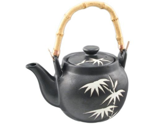Japanese Oriental Traditional Style Ceramic Teapot with Rattan Handle 35 fl oz Tea Kettle with Stainless Steel Infuser Strainer for Loose Leaf Tea (Bamboo)