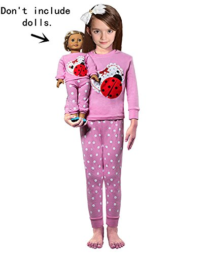 Babyroom Girls Matching Doll&Toddler Ladybug 4 Piece Cotton Pajamas Kids Clothes Sleepwear Size (Fashion Bug Clothing Store)