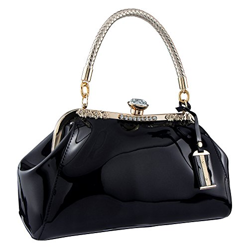 t Leather Glossy Shell Handbag Clutches Shoulder Evening Bags for Party Black ()