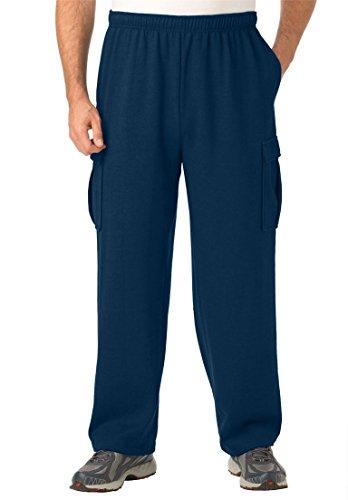 KingSize Men's Big & Tall Easy-Care Fleece Cargo Pants, Navy (Cargo Cotton Sweatpants)