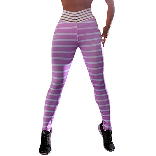 Deesee(TM)_WomenHight Waist Yoga Stripe Legging Running Stretch Pants Trouser - Trousers Suit City