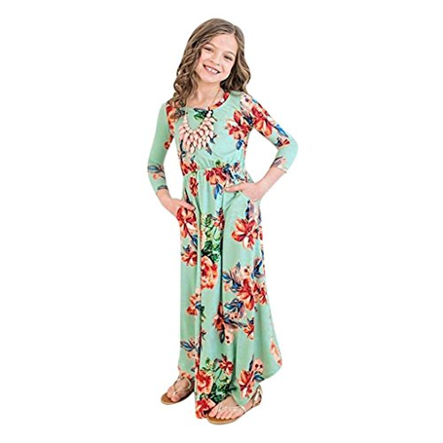 (PENATE Baby Girl Fashion Flower Print Princess Party Dress Long Skirt Dance Robe (Green,)