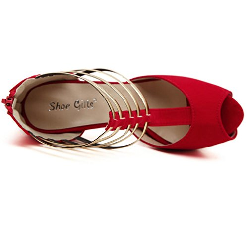 para High Best 4U® Sandalias metal Platform mujer Bombas toe de Peep Summer Suela 14CM Zapatos sintética Black Heels 4CM Suede pqEqdPxwr