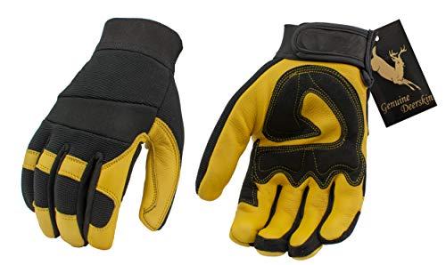 M Boss Apparel BOS37548 Mens Yellow Lined Full Grain Deerskin Gloves - Large ()