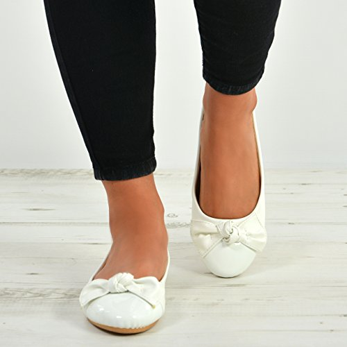 Alhaiset Kengät Korot Ballerinat Pumput Uusi Patenttia Luistaa Baletti Valkoinen Tasaisella Naisten Dolly Cucu Naisten Muodin 80Uwq7g8