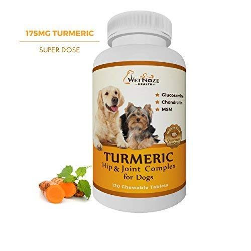 Turmeric Hip & Joint Complex for Dogs with Glucosamine Chondroitin MSM - Best Anti Inflammatory for Dogs - Arthritis Pain Relief - Supplement for Joint Health - 120 Chewable Tablets (Best Otc Anti Inflammatory Medicine)