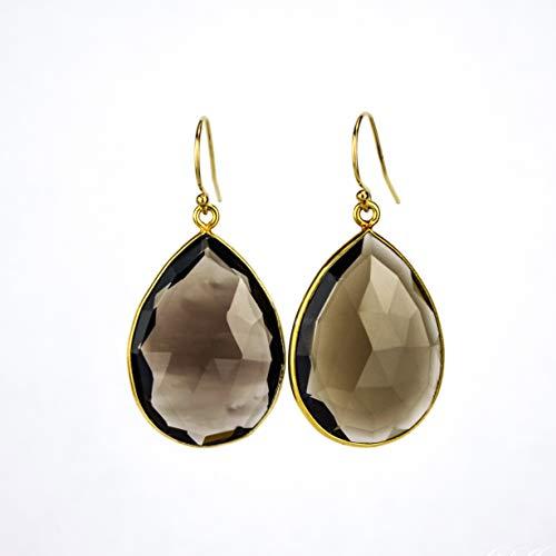 Smoky Quartz earrings, Birthstone Earrings, dangle earrings, bridesmaid earrings gemstone ()