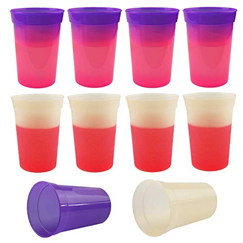 Luckkyme 17oz Color Changing Stadium Cup cold and hot water color change mug, Set of 10, Frosted Assorted (Oz 17 Stadium Party Cups)