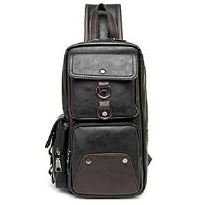 BJDTZ Men's Leather Sling Bag,Chest Shoulder Backpack, Waterproof Crossbody Bag with Charging Port for Travel (Color : A)