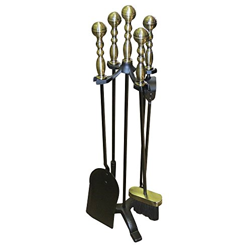 Antique Handle Fireplace Tool Set w/ Poker Brush Tongs Shovel From Boone Hearth (Brass Handle) (Fireplace Brush Set)