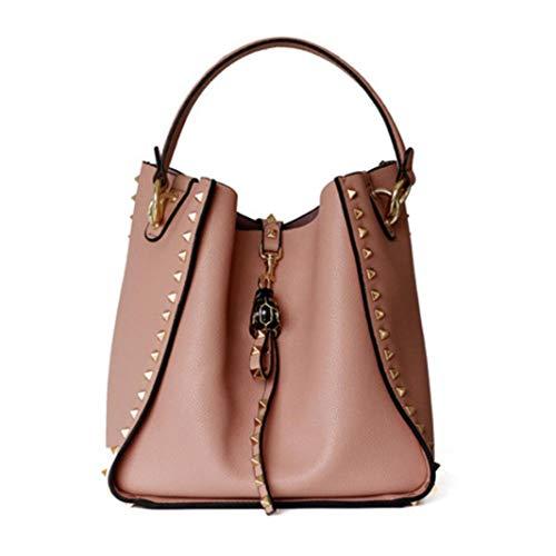 ACTLURE Women Cowhide Leather Rock Stud Double Handle Hobo Crossbody Shoulder Handbag Bucket Purse (PINK)