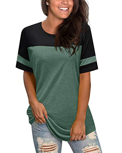 II ININ Women Long Sleeve Patchwork Color Block Round Neck Basic Tunic Casual Blouse Tops T Shirt